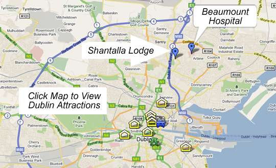 Map Of Ireland Hospitals.Shantalla Lodge Dublin Accommodation Near Beaumount Hospital B B
